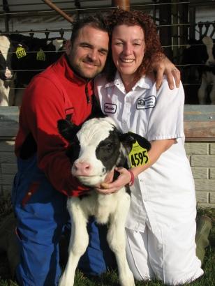 Rolf and Marieke with calf